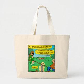 876 Half below average couple cartoon Large Tote Bag