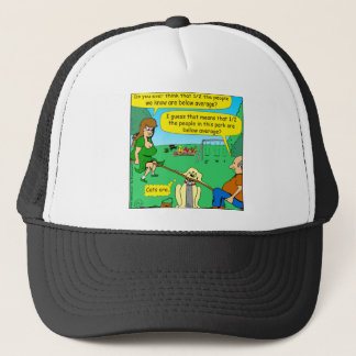 876 Half below average couple cartoon Trucker Hat