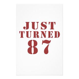 87 Just Turned Birthday Stationery