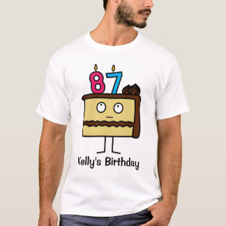87th Birthday Cake with Candles T-Shirt