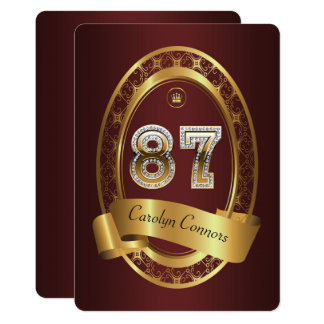 87th,birthday party woman man,elegant color card