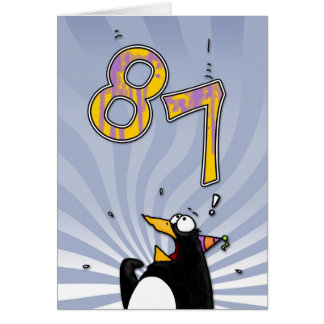 87th Birthday - Penguin Surprise Card
