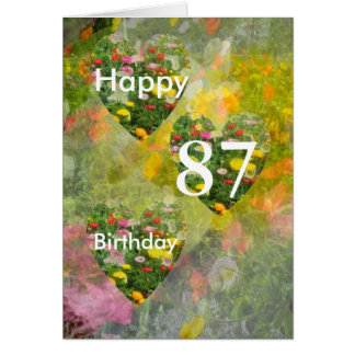 87th Birthday Pretty Floral Hearts Card
