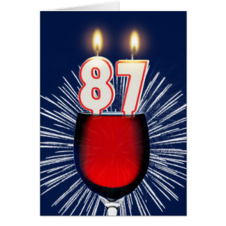 87th Birthday with wine and candles Card