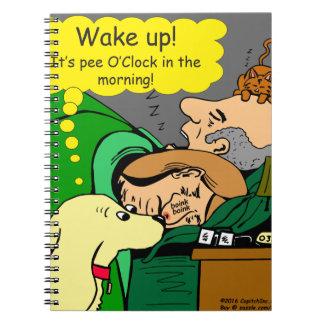 881 Pee o'clock in the morning cartoon Spiral Notebook