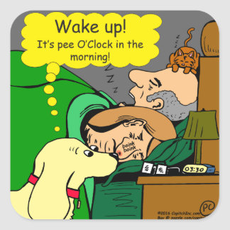 881 Pee o'clock in the morning cartoon Square Sticker