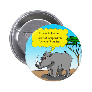 886 rhino tickle cartoon 2 inch round button