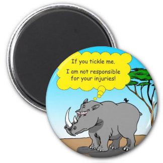 886 rhino tickle cartoon 2 inch round magnet