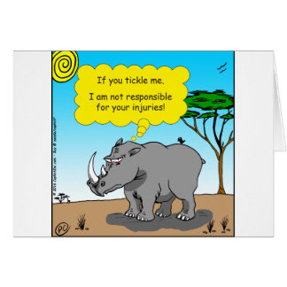 886 rhino tickle cartoon card