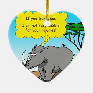 886 rhino tickle cartoon ceramic ornament
