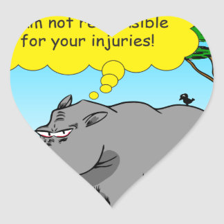 886 rhino tickle cartoon heart sticker