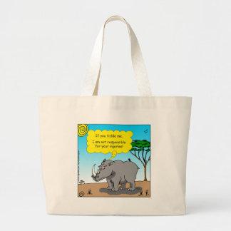 886 rhino tickle cartoon large tote bag