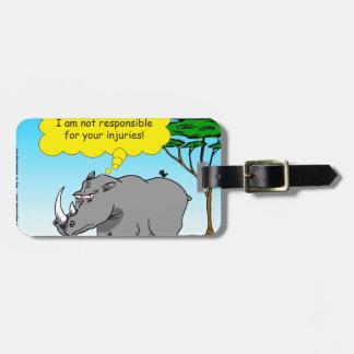 886 rhino tickle cartoon luggage tag