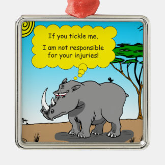 886 rhino tickle cartoon metal ornament