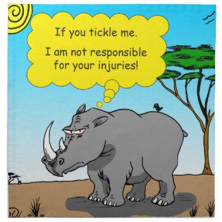 886 rhino tickle cartoon napkin