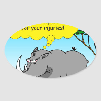 886 rhino tickle cartoon oval sticker
