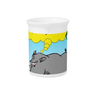 886 rhino tickle cartoon pitcher