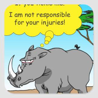 886 rhino tickle cartoon square sticker