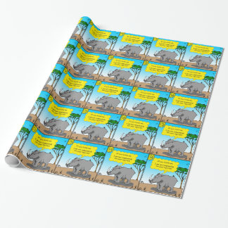 886 rhino tickle cartoon wrapping paper