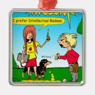 887 nerd wins argument cartoon Silver-Colored square ornament