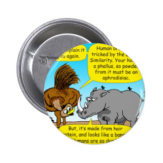 889 Rhino phallus cartoon 2 Inch Round Button