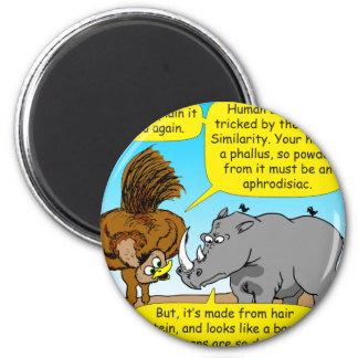 889 Rhino phallus cartoon 2 Inch Round Magnet
