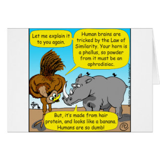 889 Rhino phallus cartoon Card