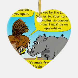 889 Rhino phallus cartoon Ceramic Ornament