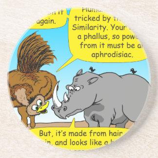 889 Rhino phallus cartoon Drink Coaster