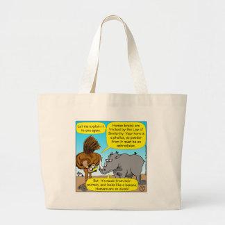 889 Rhino phallus cartoon Large Tote Bag