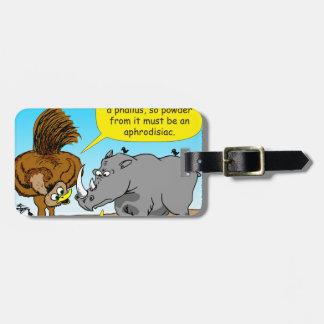 889 Rhino phallus cartoon Luggage Tag