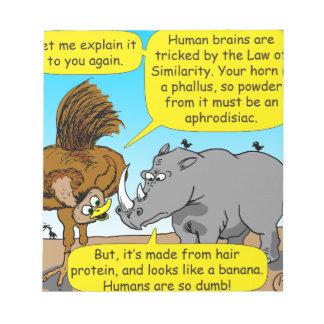 889 Rhino phallus cartoon Notepads