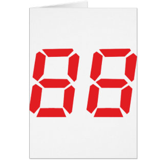 88 eighty-eight red alarm clock digital number card