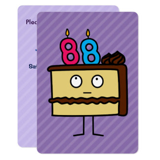 88th Birthday Cake with Candles Card