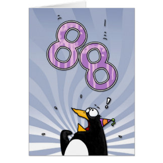 88th Birthday - Penguin Surprise Card