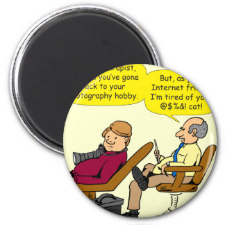 894 tired of your cat cartoon magnet