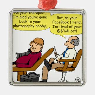 894 Tired of your cat cartoon Silver-Colored Square Ornament