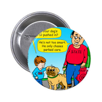 895 dog chases parked cars cartoon 2 inch round button