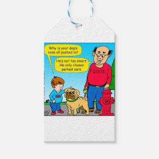 895 dog chases parked cars cartoon gift tags