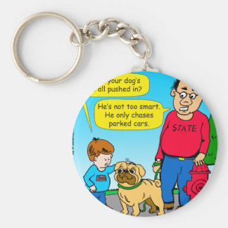 895 dog chases parked cars cartoon keychain