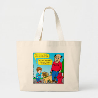 895 dog chases parked cars cartoon large tote bag