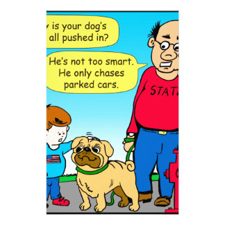 895 dog chases parked cars cartoon stationery