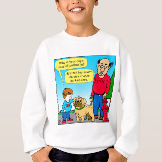 895 dog chases parked cars cartoon sweatshirt