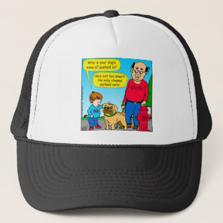 895 dog chases parked cars cartoon trucker hat