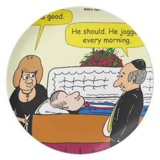 898 He looks good funeral cartoon Plate