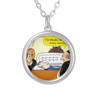 898 He looks good funeral cartoon Silver Plated Necklace