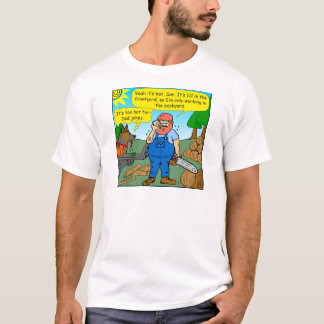 899 111 in front yard bad dad joke cartoon T-Shirt