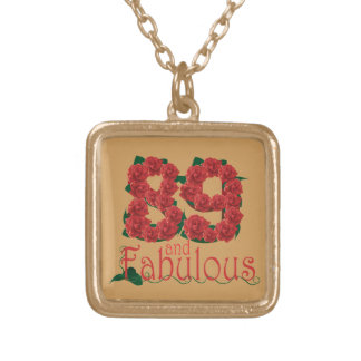 89 and fabulous 89th birthday red roses floral gold plated necklace