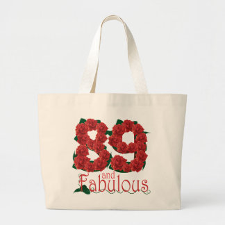 89 and fabulous 89th birthday red roses floral large tote bag