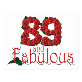 89 and fabulous 89th birthday red roses floral postcard
